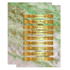 Minimal Luxury Gold Stripes Mint White Marble Vip 13 Cm X 18 Cm Invitation Card