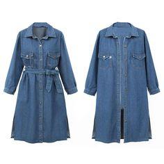 Pandaie Womens ... Women Casual Long Sleeve Denim Jacket Long Jean Coat Outwear Overcoat Blue Vests, Raincoat, Shirt Dress, Jeans, Jackets, Shirts, Dresses, Products, Fashion