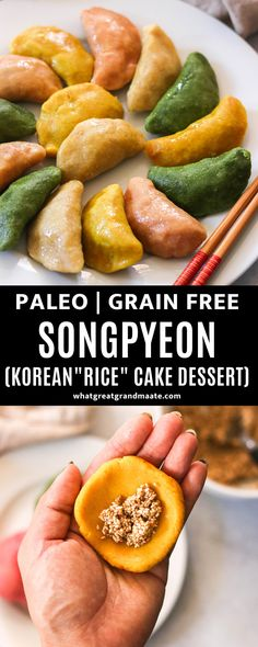 This paleo songpyeon recipe is a grain free and rice free version of the Korean rice cake dessert filled with sweet sesame eaten during Chuseok, Korean Thanksgiving. Dyed naturally, and it's chewy and so delicious! #paleo #grainfree #ricefree #grainfreedessert #paleodessert #koreanfood #chuseokrecipes Best Gluten Free Recipes, Primal Recipes, Real Food Recipes, Healthy Recipes, Korean Thanksgiving, Thanksgiving Recipes, Holiday Recipes, Korean Rice Cake, Sweet Dumplings