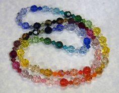 Long Rainbow Multicolor Crystal Necklace