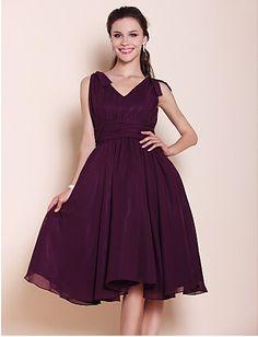 Cheap Prom Dress Knee Length Chiffon A Line Princess V Neck Dress Free Measurement