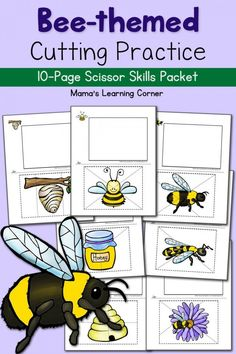 If you're studying insects or the honey bee, don't miss these adorable and simple Bee-themed Scissor Practice printables from Mama's Learning Corner. :: www.thriftyhomeschoolers.com