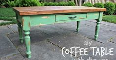 A DIY tutorial to build a coffee table with a single drawer.