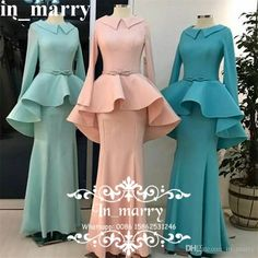 New Fashion Mermaid Muslim Evening Dresses with Long Sleeves 2017 Trumpet Peplum Long Satin Cheap Simple Formal Dresses Evening Wear Gowns Simple Formal Dresses, Trendy Dresses, Elegant Dresses, Nice Dresses, Casual Dresses, Muslim Gown, Muslim Evening Dresses, Lace Dress With Sleeves, Lace Dress Black