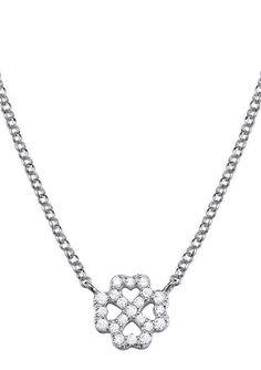 """Esprit, Kette, """"ES-pico luck, ESNL93371A420"""".  Lassen Sie sich von diesem glänzenden Glücksbringer verzaubern! Dieser strahlende Halsschmuck ist aus rhodiniertem Silber 925 gefertigt. Das Kleeblatt ist mit funkelnden Zirkonia (synth.) bestückt und hat eine Breite von ca. 8 mm und eine Länge von ca. 0,8 cm. Die Kette mit Erbskettengliederung hat eine Gesamtlänge von ca. 42 cm + 3 cm Verlängerung..."""