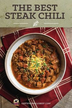 Hearty slow cooker steak chili is perfect for game day or a comforting meal on a cold day. Bottom round roast makes it a budget-friendly meal. #bestangusbeef #certifiedangusbeef #beefrecipe #beef #slowcooker #slowcookerrecipes #slowcookerdinner #dinner #chili #steak #steakchili Slow Cooker Round Roast, Best Slow Cooker Chili, Slow Cooker Stew Recipes, Best Beef Recipes, Beef Recipes For Dinner, Barbecue Recipes, Chili Recipes, Bottom Round Steak Recipes, Beef Bottom Round Steak