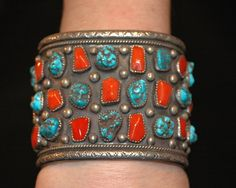 "Large Museum quality coral and turquoise vintage sterling bracelet by Navajo artist J.Wood 171 grams 2 1/2"" wide"