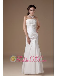 Custom Made Column Strapless Low Cost Wedding Dress Satin Appliques Floor-length  http://www.fashionos.com  http://www.facebook.com/fashionos.us  If you're searching for a bridesmaid dress that screams class and sophistication this is definitely one to consider. It's made from a gorgeous taffeta fabric and features strapless gathered bodice that extends below the hips with appliques to where the mini-mermaid style flares out wonderfully.