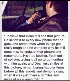 This is endearingly heartbreaking. And I pray to Chuck and Cas that it's true