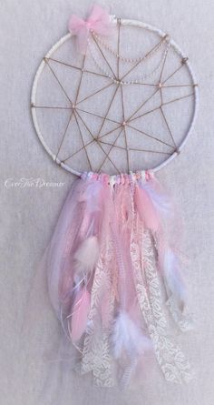 Tickled Pink Dreamcatcher / mobile / wall art baby girls nursery shabby chic vintage boho dreamy pastel dream catcher door EverTheDream op Etsy https://www.etsy.com/nl/listing/205978795/tickled-pink-dreamcatcher-mobile-wall