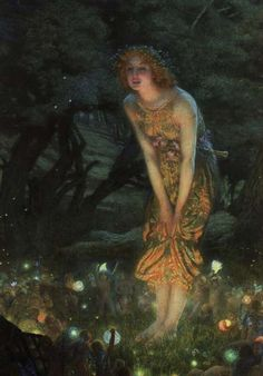 Mid-Summer's Eve Fairy Circle by British Pre-Raphaelite artist Edward Robert Hughes The Pre-Raphaelites make me happy, they were so free. Edward Robert Hughes, Beltane, Midsummer's Eve, Fairy Ring, Celtic Goddess, Elves And Fairies, Real Fairies, Beautiful Fairies, Gnome