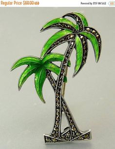 ❘❘❙❙❚❚ ON SALE ❚❚❙❙❘❘     Art Deco Sterling Marcasite Enamel Palm Tree Brooch This Vintage 1920s- 30s Art Deco Figural Brooch Features Two Palm Trees