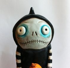 Halloween Hooded Ghoul with Pumpkin Doll polymer clay folk art sculpture on Etsy, $60.00