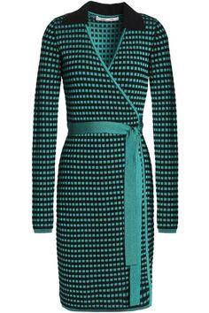 Shop on-sale Jacquard-knit wrap dress. Browse other discount designer Knee Length Dress & more luxury fashion pieces at THE OUTNET Knit Wrap, Discount Designer, Diane Von Furstenberg, Dresses For Sale, Jade, Wrap Dress, Luxury Fashion, High Neck Dress, Knitting