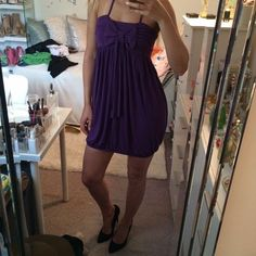 "Purple bow dress:)  Very comfy. Good for S or M (I'm S). Great condition. Approx: 24""L, rubber elastic on bottom. 92% viscose, 8% elastane. Got it at LF store. GanJana Paris Dresses"