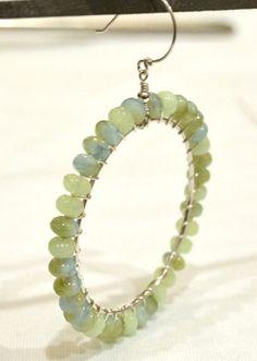 aqua-loop-earrings tutorial - wire wrapped & beaded  @Jen Gee