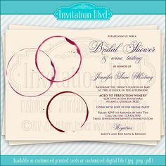 Wine Glass Ring Stains Customizable Wine Tasting Bridal Shower Invitation by InvitationBlvd, $10.99
