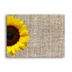 Rustic Western Country Burlap Sunflower Wedding Envelope