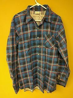 VINTAGE KINGS ROAD Perma-Prest Long Sleeve Button Front Flannel Shirt Sz L