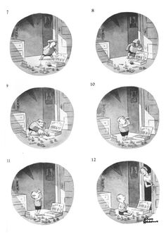 As a kid I used to page through my mom's collections of Charles Addams cartoons. They haunted and fascinated me. Looking at them was/is like entering not a world, but a room–with a particular kind of light and a weird staticky sound in the distance.This one got to me in particular–especially panel #7. He's so worried and hideous at the sound of his mother coming. Who am I kidding–it STILL gets to me. All with no sound, symbols, or words–just pure expression and ges... Charles Addams, Distance, Summer, Weird, Cartoons, Collections, Symbols, Pure Products, Mom