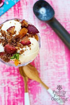 Extra Crumbly Plum Crisp with Vanilla Ice Cream | Recipe on FamilyFreshCooking.com © MarlaMeridith.com