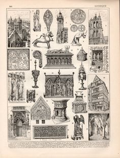 1897 Gothic Architecture Antique Print Vintage by Craftissimo
