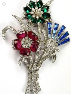 Trifari 'Alfred Philippe' Pave faux Emerald, Ruby and Sapphire Patriotic British Rose Flowering Shamrock and Thistle Pin Clip High Jewelry, Jewelry Art, Antique Jewelry, Vintage Jewelry, Jewelry Design, Vintage Costume Jewelry, Vintage Costumes, Rhinestone Jewelry, Vintage Brooches