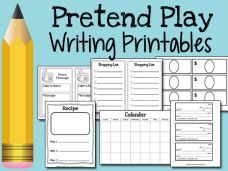 Printable play money, blank checks, shopping lists, etc. for pre-writing and writing skills in a pretend play setting