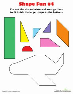 How can a few triangles and a rectangle make an airplane? Show your kindergarten the magic of shapes with this fun cut and paste activity. Kindergarten Activities, Preschool Activities, Kindergarten Shapes, Worksheets For Kids, Geometry Worksheets, Math Worksheets, Airport Theme, Airplane Activities, Transportation Unit