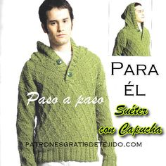 sueter dos agujas  o palitos con rombos y capucha paso a paso Knitting Designs, Color Patterns, Crochet Projects, Knitwear, Knit Crochet, Men Sweater, Pullover, Stitch, Sewing