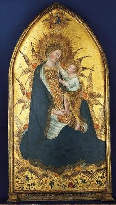 rosebiar: Zoom Enlarge, zoom, and pan Branchini Madonna, 1427 Giovanni di Paolo Italian, Tempera and gold leaf on panel 72 x 39 in. x cm) The Norton Simon Foundation © 2012 The Norton Simon Foundation Religious Images, Religious Icons, Religious Art, Blessed Mother Mary, Blessed Virgin Mary, Renaissance Kunst, Religious Paintings, Mary And Jesus, Madonna And Child