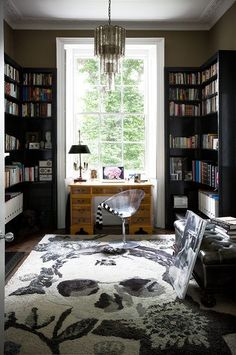 home office with skull rug Design Loft, Home Office Design, House Design, Office Decor, Office Ideas, Sunroom Office, Office Setup, Office Chic, Decoration Inspiration
