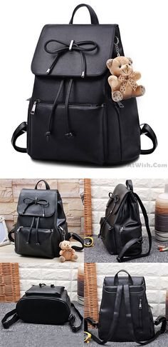 Elegant Bear Doll PU Flap Draw String Large Capacity Bow College Backpacks is the latest backpack! #college #backpack #bear #doll #elegant #school #bow