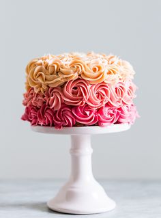 pink rainbow cake with chocOlate cherry ganache & buttercream frosting