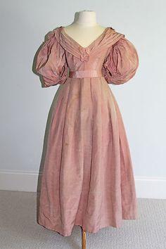 RARE Antique Georgian Regency 1830s Pink Silk Ball Gown Gigot Sleeve Bertha | eBay