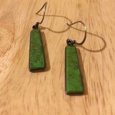 Sterling silver & unique green stone drop earrings Beautiful, solid, different. Back needs polishing, but will be good as new once a cloth is taken to them. Jewelry Earrings