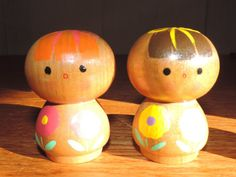 4 Kokeshi Dolls Wood Chinese Asian Dolls Japanese by bluejeanjulie