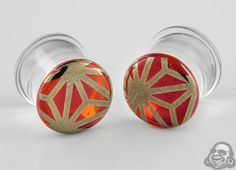 Pyrex glass colorfront plugs (Japanese star on amber purple)