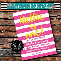 BIRTHDAY STRIPES SIMPLE Any Color Pink Lemonade Girl Boy 1st Custom Party Invitations, Digital Invitations, Birthday Design, Pink Lemonade, Rsvp, First Birthdays, Projects To Try, Stripes, Simple
