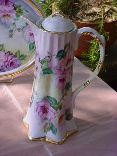 ROSES Chocolate Pot Breathtaking Pink Roses JH417-chocolate pot, pink roses, porcelain, victorian, vintage, antique,