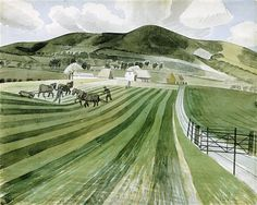 'Mount Caburn' 1935 by Eric Ravilious Watercolor Landscape, Landscape Art, Landscape Paintings, Oil Paintings, History Of Illustration, Illustration Art, Illustrations, New Artists, Great Artists