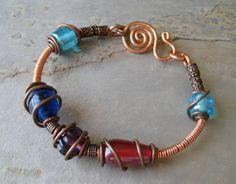 Copper Wire Wrapped Bangle Bracelet - Love! - $30