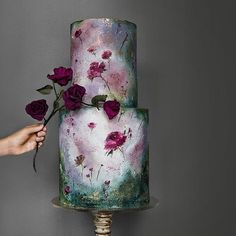 25 Beautiful Hand Painted Floral Wedding Cakes – crazyforus – Famous Last Words Naked Wedding Cake, Painted Wedding Cake, Floral Wedding Cakes, Floral Cake, Beautiful Wedding Cakes, Wedding Cake Designs, Beautiful Cakes, Fruit Wedding, Wedding Themes