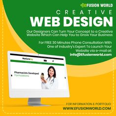 Our Designers Can Turn Your Concept To A Creative Website Which Can Help You To Grow Your Business. For FREE 30 Minute Phone Consultation With One of Industry's Expert To Launch Your E-Commerce Business via e-mail at: info@efusionworld.com. Creative Web Design, E Commerce Business, Responsive Web Design, Web Design Services, Website Designs, Growing Your Business, Ecommerce, Designers, Product Launch