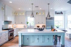 I like the glass cabinets doors.- June Coastal White Kitchen with Turquoise Island( darker blue for grandma) Home Decor Kitchen, Interior Design Kitchen, New Kitchen, Kitchen Ideas, Kitchen Colors, Beach House Kitchens, Cool Kitchens, Coastal Kitchens, White Kitchens