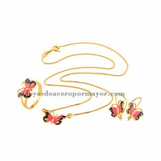 butterfly jewelry sets with  fashion jewerly necklace,earring and rings for women -BRNEG72002