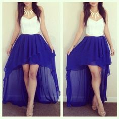 White Royal Blue High Low Hem Dress @ Amiclubwear sexy dresses ...