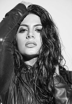 Emeraude Toubia in an angsty black and white photograph.  | @gaby_cantoo