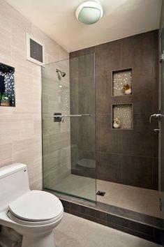 Modern Master Bathroom with Glass mosaic tile, Daltile Concrete Connection Eastside Brown Field Tile, Master bathroom