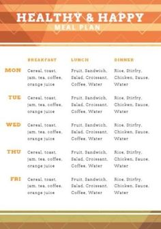 Stay healthy and happy with this striking meal plan. You can easily change the size, style and color of the text. How To Stay Healthy, Healthy Life, Fruit Sandwich, Food Planner, Sauce For Chicken, Breakfast Lunch Dinner, What You Eat, Stir Fry, Change
